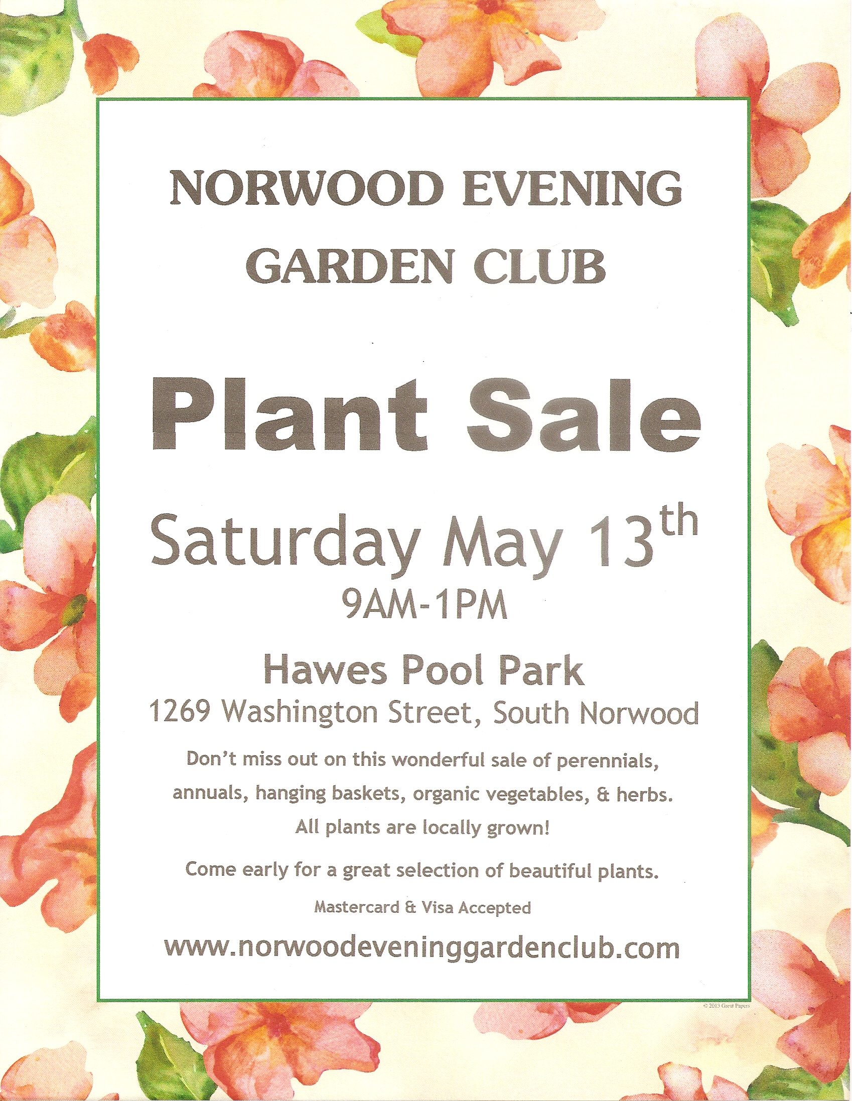 Mail in Pre order form. Norwood Evening Garden Club